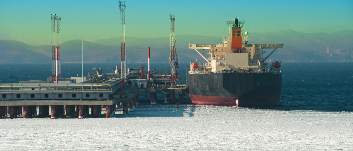oil tanker loading at port